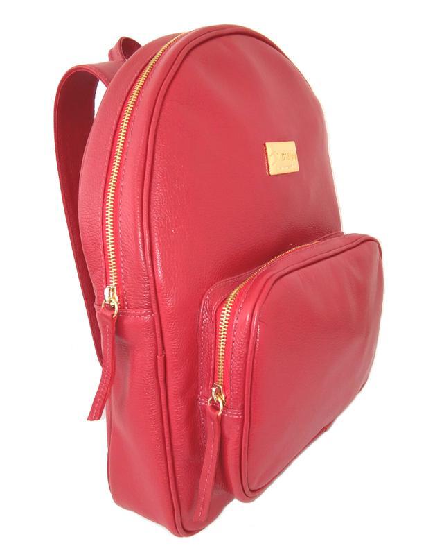 038ef3d7ce Mochila pequena couro legítimo feminina d elpis - ref 8127 vermelho1 ...