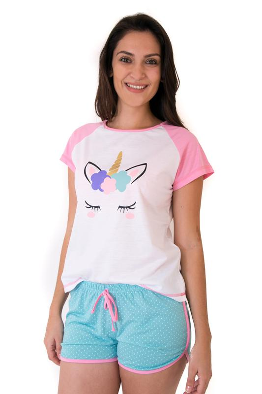 8791d9980c Pijama de unicórnio short doll feminino adulto - R  59.90  6377 ...