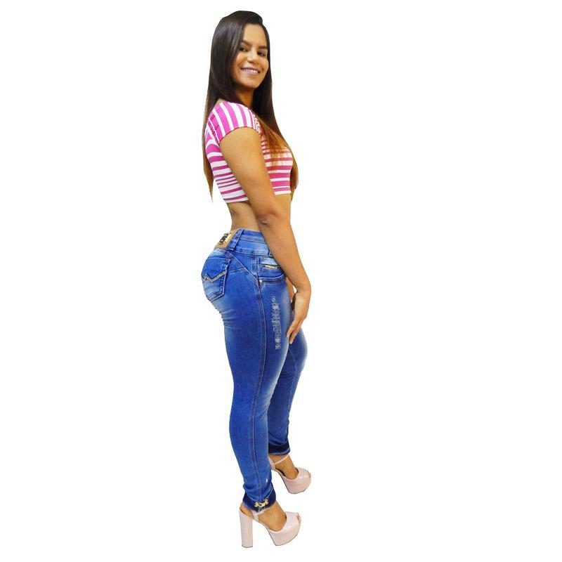 becf4f5b5d Calça jeans feminina via7 bojo removível strass metal na barra 101041 ...