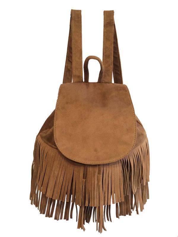 Bolsa mochila feminina com franjas com alças reguláveis - R  94.90 ... 7adeb13c229
