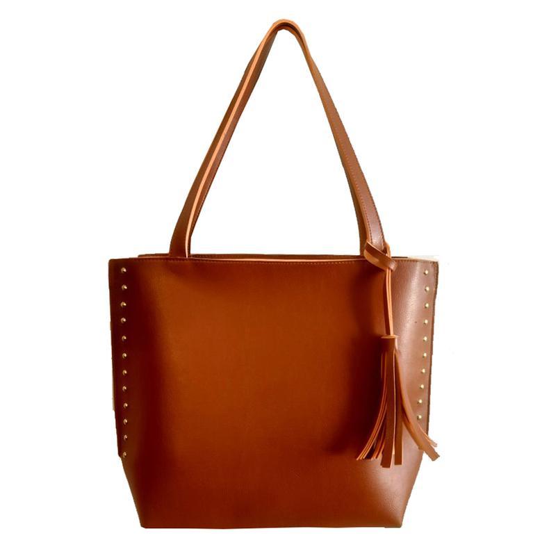Bolsa feminina sacola grande de ombro couro sintético caramelo - R ... 27c0e9a8746
