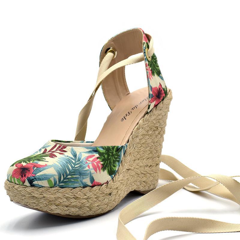 994d517c47 Sandália anabela floral salto plataforma amarrar na perna corda - R ...