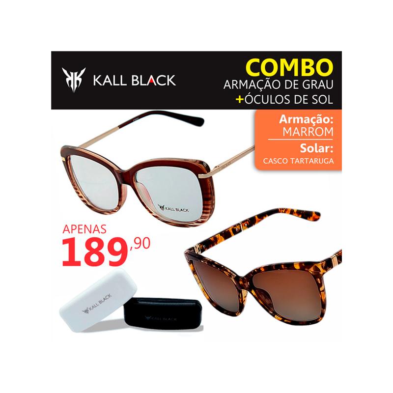 f9775eafa3a32 Kit 2 em 1 compre a armação e leve um óculos solar feminino kallblack1