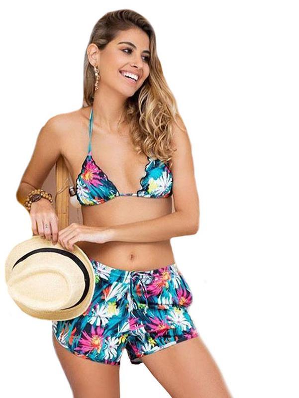 78599607c11 Kit praia top + calcinha + short - biquini short com bolso e top bojo  removível1 ...