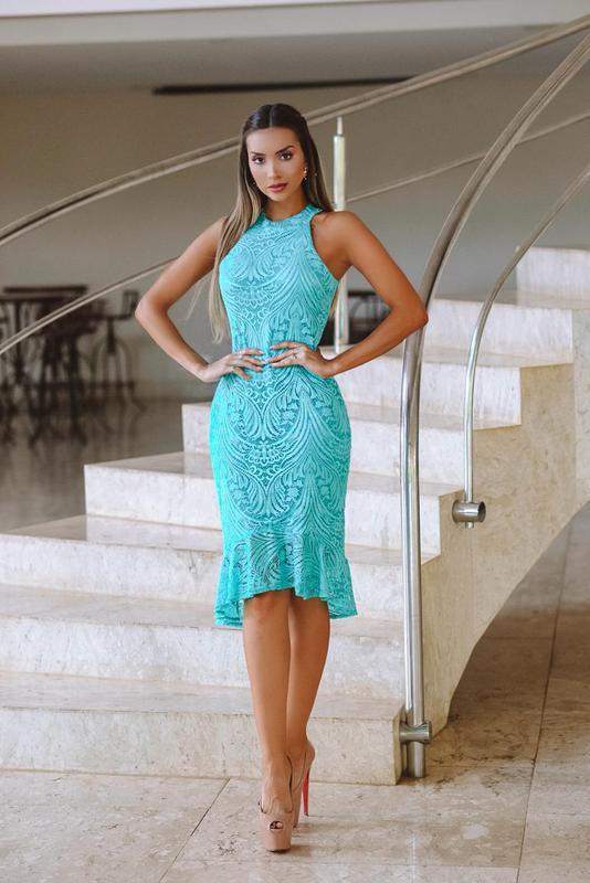 Vestido de festa verde e azul