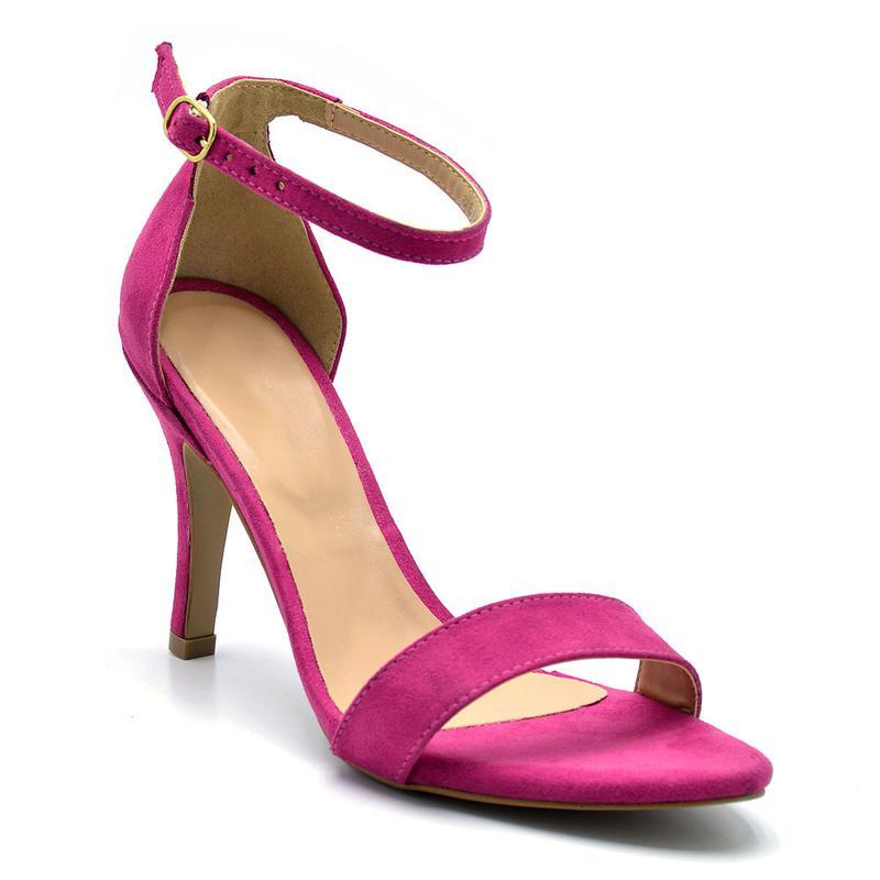 dd55e2eee4 Sandália feminina social salto alto fino camurçado rosa pink - R ...