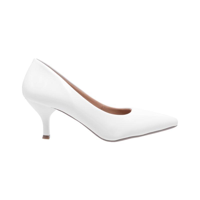 4e8a142978 Sapato social feminino scarpin branco salto baixo fino - R  99.90 ...