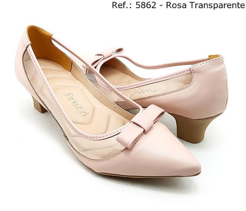 76afe62b6b5 Sapato feminino scarpin firezzi verniz rose com transparecia - R ...