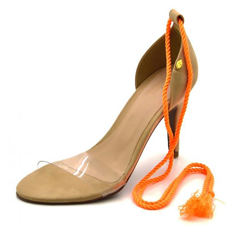 e63c8d410 Sandália feminina social salto nude com corda laranja neon - R ...
