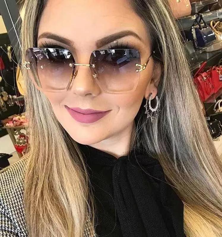 25da3382585e3 Óculos de sol feminino armações sem aro chicnova coleção - R  219.99 ...