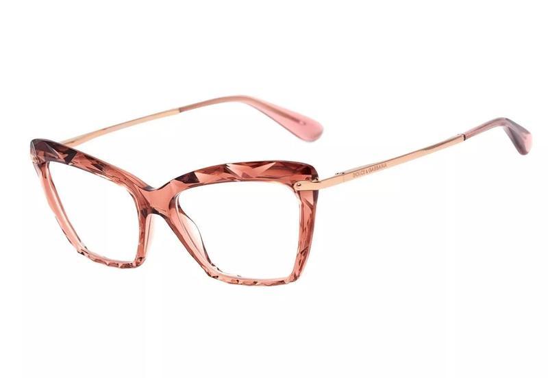 7fb8e2a40ed0e Armação óculos grau feminino gatinho dg5025 diamante rosa - R ...