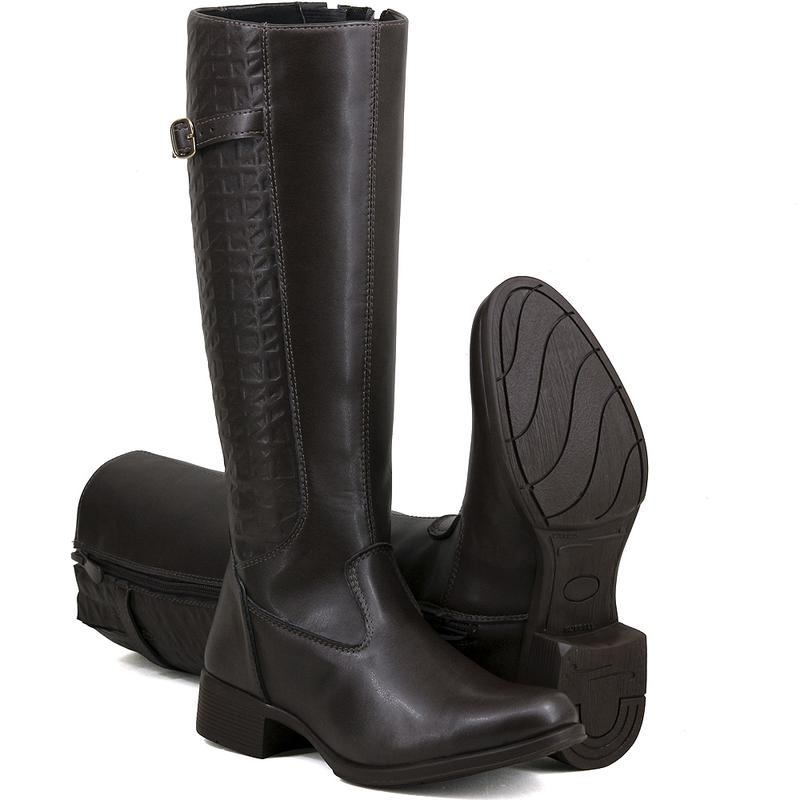9d6228a21f5 Bota montaria magi shoes cano longo salto baixo marrom - R  99.99 ...
