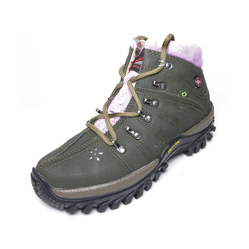 75032fd237 Tênis coturno adventure feminino verde detalhe rosa - R  99.90 (cano ...