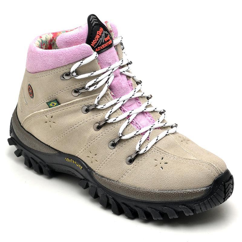 366409fd13 Tênis cano alto feminino coturno adventure creme com rosa - R ...