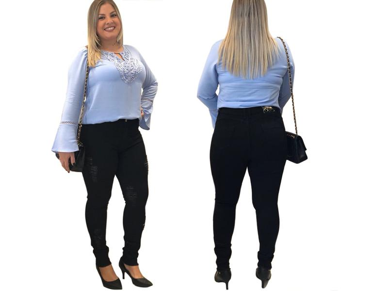 76964b5d8d ... Calça feminina plus size jeans preta rasgada cintura alta3 ...