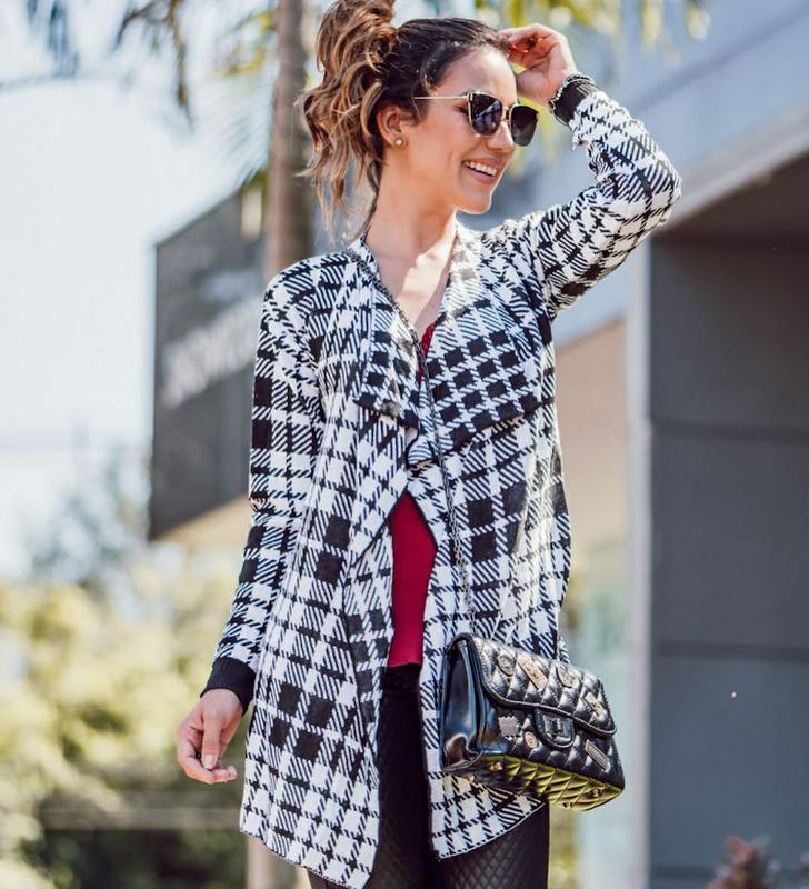 43d2fce99 Kimono feminino tricô xadrez cardigan manga longa lã - R  84.90 ...