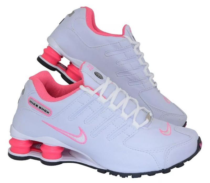 59fc6a75587 Nike shox nz feminino 4 molas branco rosa - R  164.90  20285