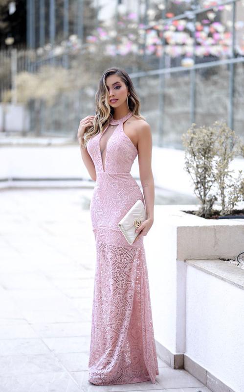 53511da19 Vestido rose longo renda festa - R  180.00  2746